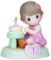 Precious Moments Precious Moments, Growing In Grace, Age 1, Bisque Porcelain Figurine, Brunette Girl, 142010B