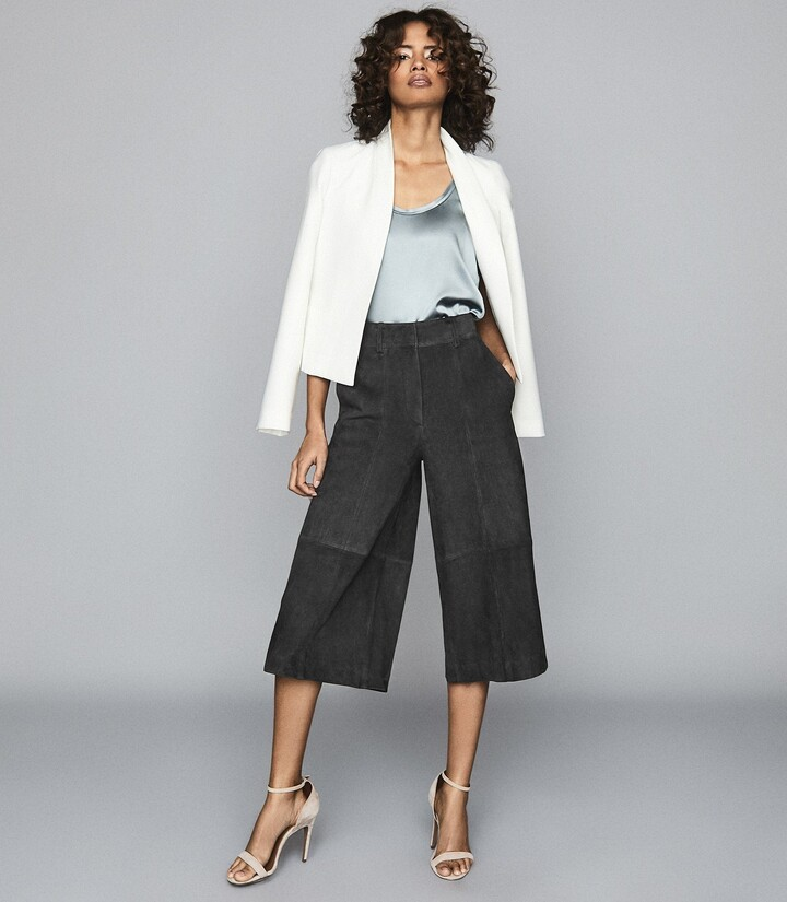 Thumbnail for your product : Reiss Ottie - Suede Culottes in Charcoal