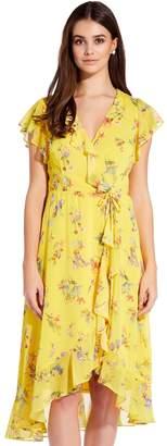 Adrianna Papell Yellow Multi Sunny Corsage Midi Wrap Dress