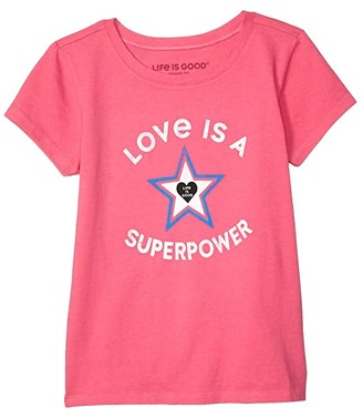Life is Good Superpower Star Crusher Knit Tee (Little Kids/Big Kids) (Fiesta Pink) Girl's T Shirt