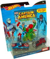 Hot Wheels Marvel Captain America vs. Red Skull Character Car 2-Pack with Comic