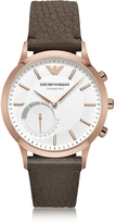 Emporio Armani Connected Rose Gold-Tone PVD Stainless Steel Hybrid Men's Smartwatch w/Leather Strap