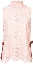 Ganni sleeveless lace blouse