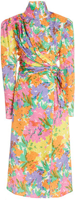Alessandra Rich Floral-Print Draped Silk Jacquard Dress
