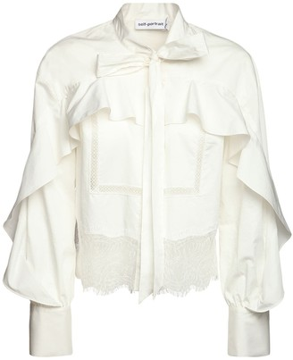 Self-Portrait Ruffled Cotton Poplin Shirt