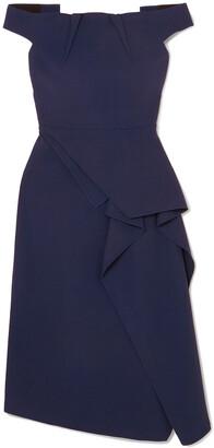 Roland Mouret Arch Off-shoulder Draped Crepe Dress