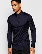 Armani Jeans Stretch Shirt With Long Sleeves Slim Fit In Navy