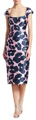 Lela Rose Squareneck Floral Satin Dress