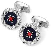 Aspinal of London Sterling Silver Plated Engraved Edge Button Cufflinks