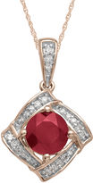 JCPenney FINE JEWELRY Lead Glass-Filled Ruby & Diamond-Accent 10K Rose Gold Pendant Necklace
