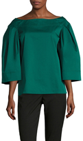 Oscar de la Renta Cotton Boatneck Bell Sleeve Blouse