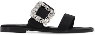 Manolo Blahnik 10mm Titubaflat Crepe De Chine Sandals