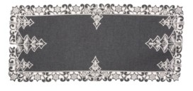 Manor Luxe Christmas Tree Embroidered Cutwork Christmas Table Runner