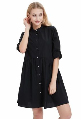 Basic Model Womens Button Down Shirt Dresses Empire Waist Roll Up Sleeve Casual Tunic Dress