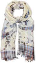 Saachi Women's Cut Out Plaid Linen & Silk-Blend Scarf