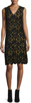 Creatures of the Wind Chenille Lace Sleeveless Sheath Dress, Black/Ochre