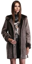 Ovonzo Women's Faux Suede Leather Parka Coat with Hood XL