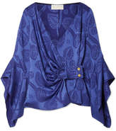 Peter Pilotto Satin-jacquard Wrap Top - Royal blue