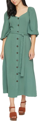 Lost + Wander Juniper Puff Sleeve Belted Midi Dress