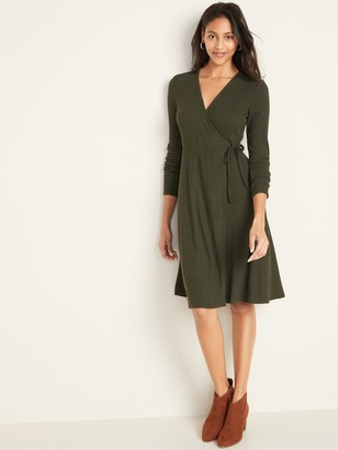 Old Navy Fit & Flare Wrap-Front Rib-Knit Dress for Women