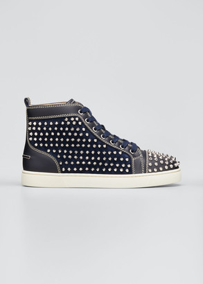 Christian Louboutin Men's Louis Spikes Leather High-Top Sneakers
