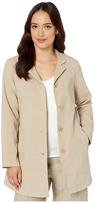 Eileen Fisher Petite Organic Cotton Hemp Stretch Stand Collar Jacket (Khaki) Women's Clothing