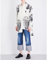 Loewe Fossil-print Asymmetric Linen-blend Shirt