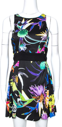 Just Cavalli Black Floral Print Pleated Faux Wrap Dress M