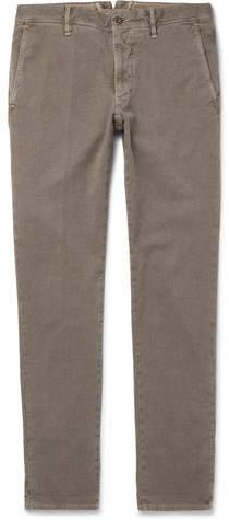 Incotex Slim-fit Herringbone Stretch-cotton Trousers - Army green