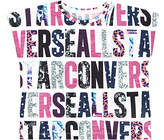 Converse Girls' Party Print T-Shirt, White/Pink