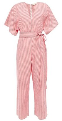 Vanessa Bruno Lelie Cropped Belted Striped Cotton-gauze Jumpsuit