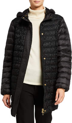 Escada Mansia Lace Puffer Coat with Detachable Hood