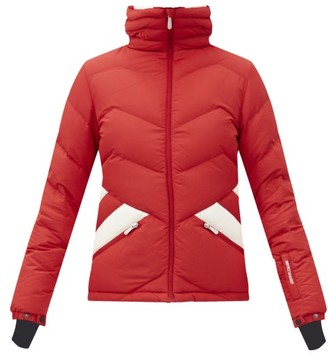 Perfect Moment Hooded Chevron-quilted Down Ski Jacket - Red