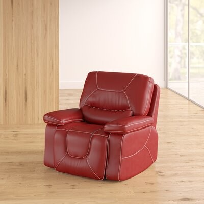 Lockheart Faux Leather Manual Glider Recliner Upholstery: Red