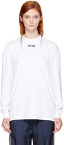 MSGM White Long Sleeve Logo T-shirt