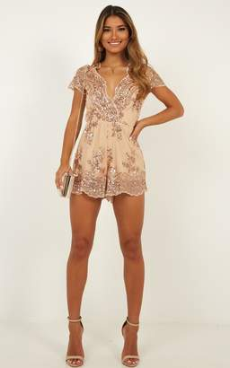 Showpo Baby Come Back Playsuit in rose gold sequins - 8 (S) Engagement