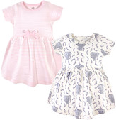 Touched By Nature Touched by Nature Girls' Casual Dresses Pink - Pink & Gray Elephant Stripe Organic Cotton Cap-Sleeve Dress Set - Newborn, Infant & Toddler