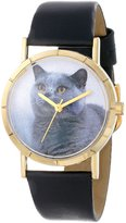 Whimsical Watches Kids' P0120029 Classic Russian Blue Cat Black Leather And Goldtone Photo Watch