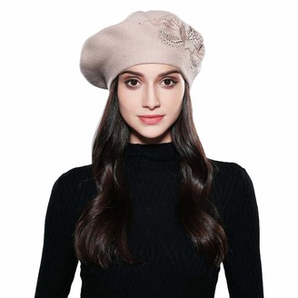 Xinqiao Womens French Berets Angora Hair Knit Embroidery Elegant Flower Rhinestones Hats(Pink)