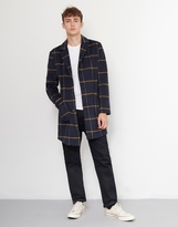 The Idle Man Check Overcoat Navy