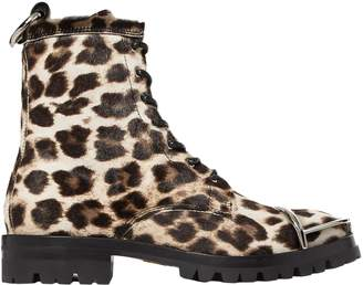 Alexander Wang Lace-up Leopard-print Calf Hair Ankle Boots