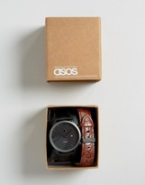 Asos Interchangeable Watch In Black And Gunmetal