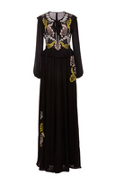Cynthia Rowley Embroidered Georgette Maxi Dress