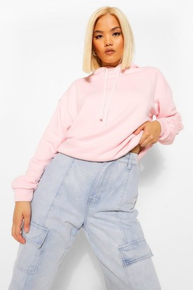 boohoo Petite Acid Wash Panel Detail Oversized Hoody