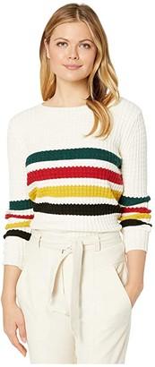 Pendleton Glacier Stripe Merino Sweater (Antique White Multi) Women's Clothing