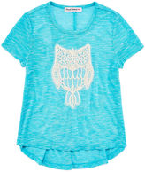 Almost Famous Short-Sleeve High-Low Appliqu Top - Girls 7-16
