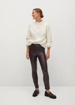 MANGO Slim-fit faux leather pants sand - XS - Women