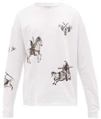 J.W.Anderson Camelot-print Long-sleeved Cotton-jersey T-shirt - Mens - White