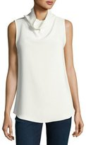 Theory Axlie Elevate Crepe Cowl-Neck Button-Back Top