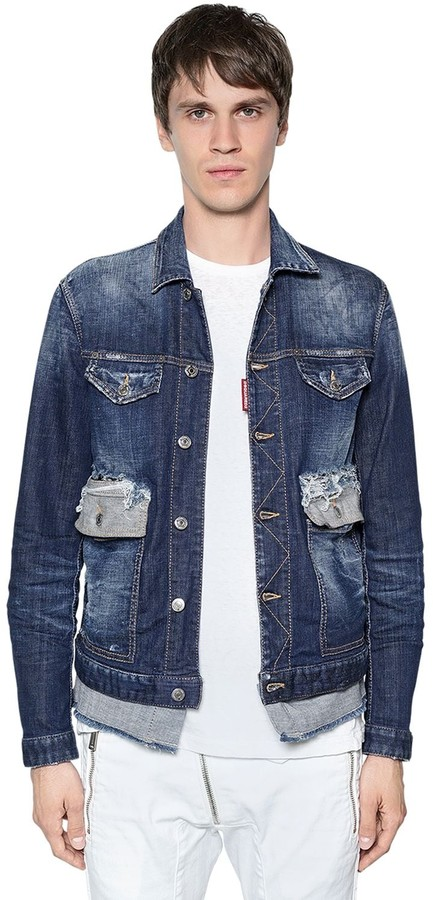 DSQUARED2 Cotton Denim Jacket W/ Contrasting Hem